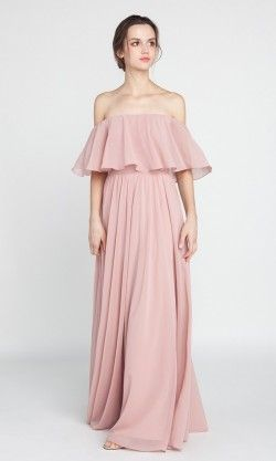 Bohemian Style Off Shoulder Full Length Bridesmaid Dress