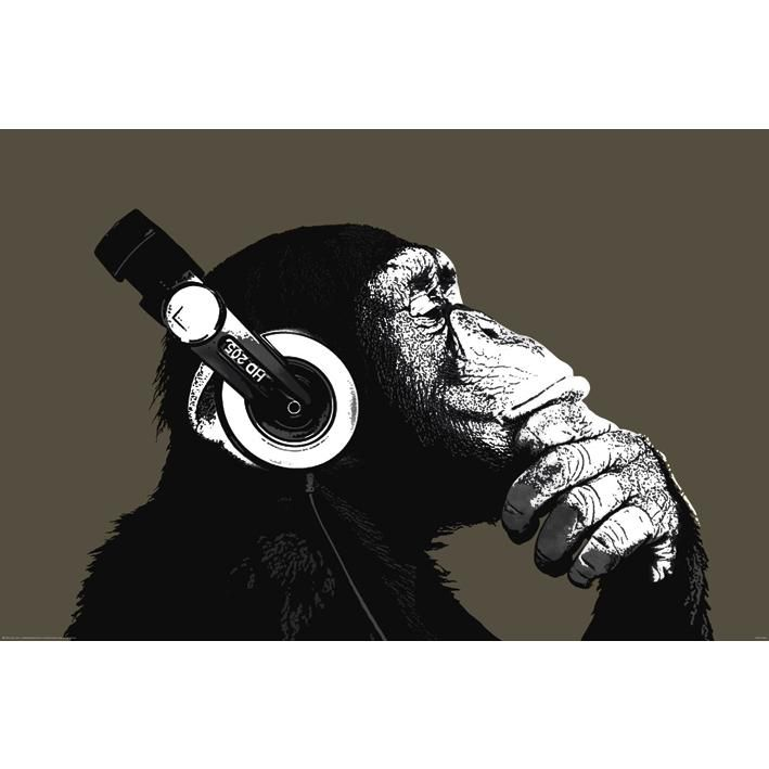 STEREO CHIMP Music Headphones Cool Large Poster Wall Art Pop Room Decoration