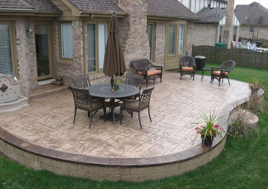 images about patio ideas on, stamped concrete patio design ideas
