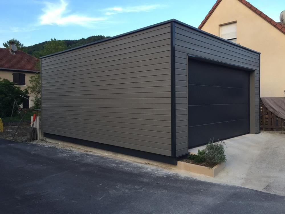 garage ossature bois toit plat garage