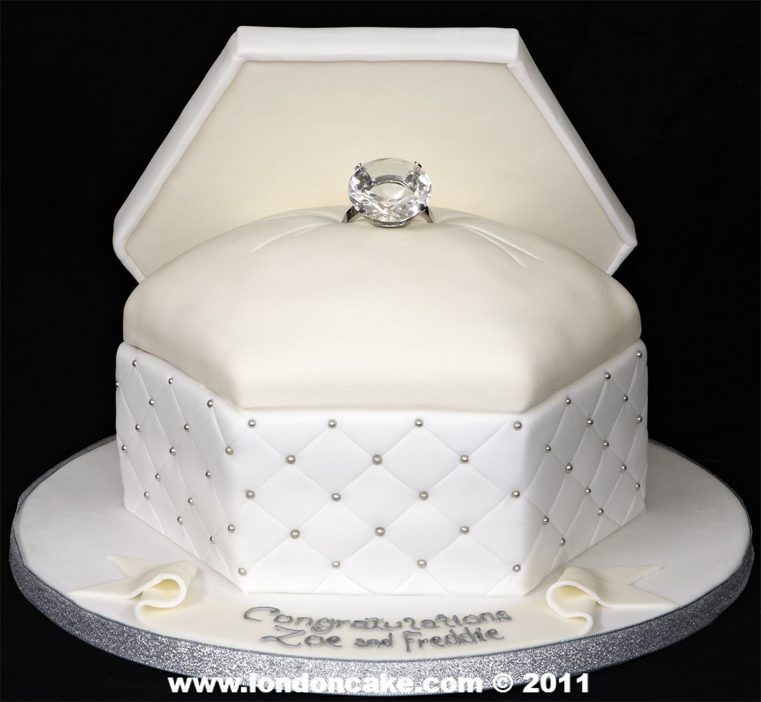 diamond wedding cakes like this ring box engagement cake as the top layer of the 13514