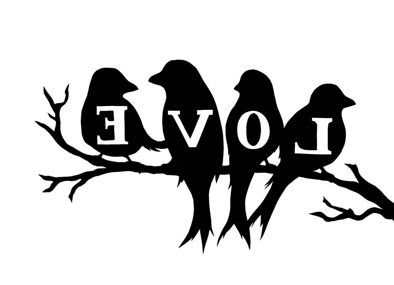 Bird Silhouette Twig Word Abstract Love 3d Bird Silhouette Silhouette Art Silhouette Stencil