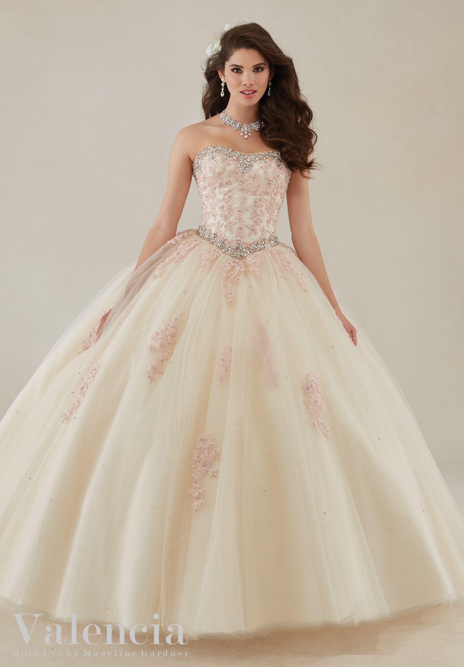 Quinceanera Dress 89086 Lace Appliqu s and Beading on a Tulle Ball ...