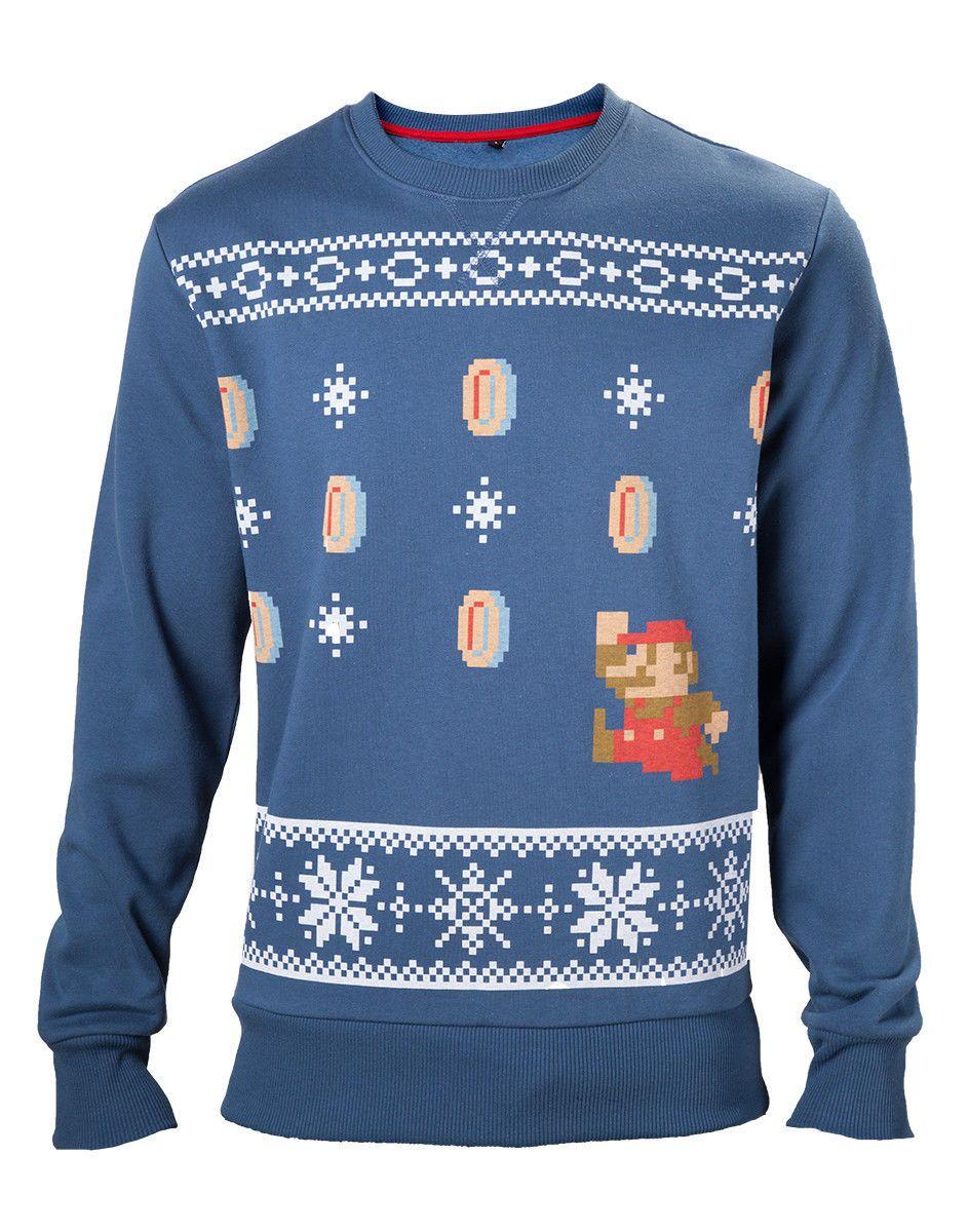 Nintendo Super Mario Coin Ugly Christmas Sweater Blue Official