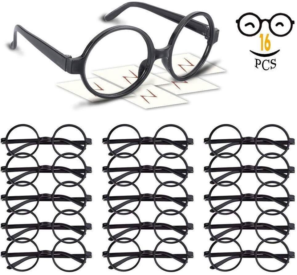 9514b28836 16 Pack Plastic Wizard Glasses Round Glasses Frame No Lenses for Halloween  Costume Party Supplies (