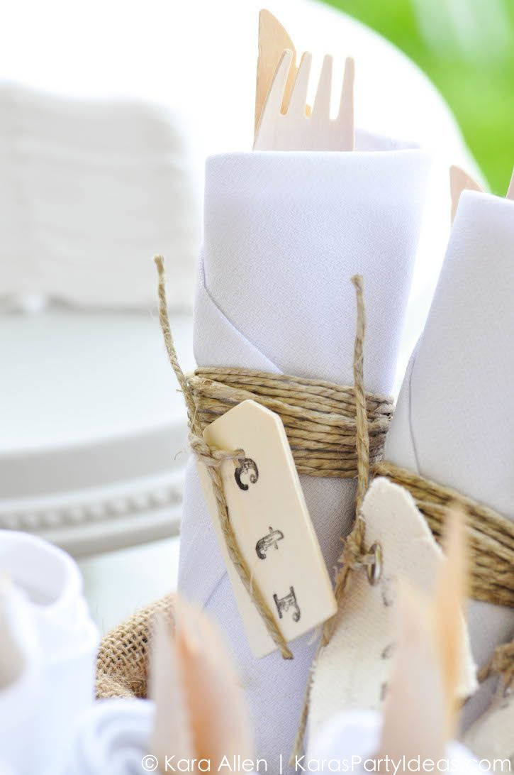 Napkins at a Chalk + Chalkboard and Burlap themed baptism luncheon ...