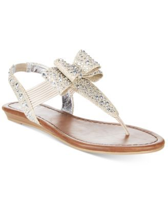 f3fbb74f9b9b ... the shimmering rhinestones and bow detail on Material Girl s Shayleen  sandals.