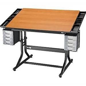 Alvin And Co Craftmaster Ii Wood Drafting Table Black Base Cherry Top