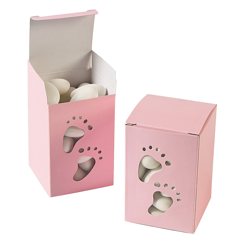 Baby Girl Footprint Pink Favor Boxes | Pink treats, Footprints and Box