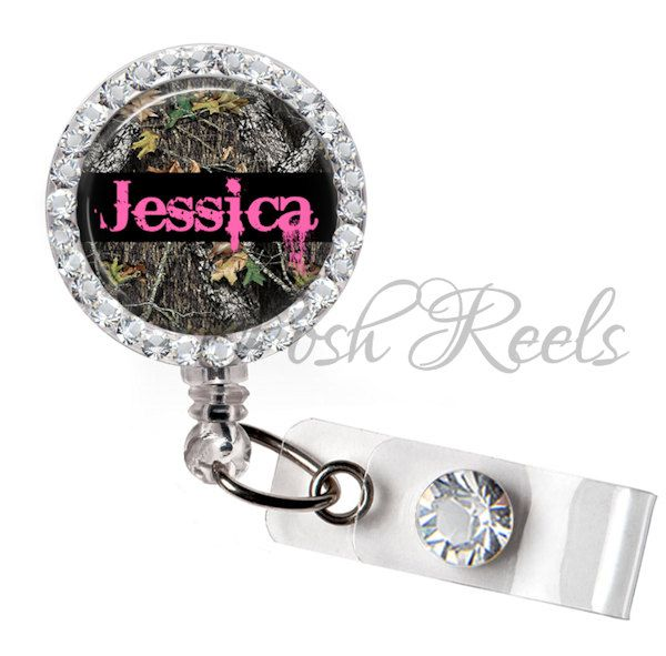 Retractable ID Badge Reel Personalized Real Camo and Pink Rhinestone Badge ID Reel - 0104 by PoshReels on Etsy https://www.etsy.com/listing/182242356/retractable-id-badge-reel-personalized