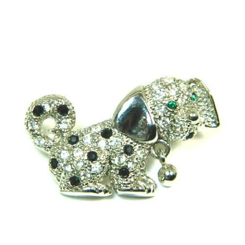 Black And White Rhinestones Paved Dog Pin