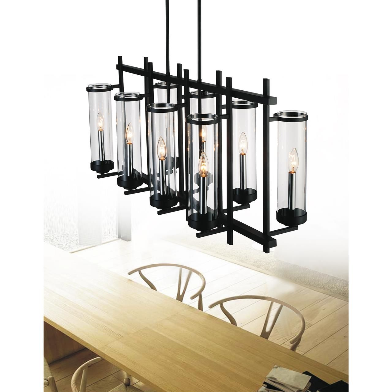 Show Details For 38 Sierra Modern Black Iron Linear Rectangular Chandelier 8 Modern Black Chandeliers Black Chandelier Rectangular Chandelier