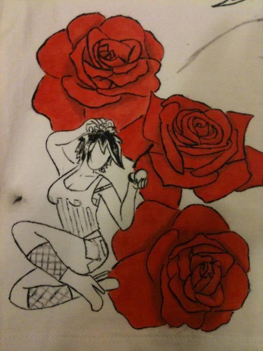 T Shirt Disegnata a Mano / Pin Up con Rose / Disegno originale preso da Internet