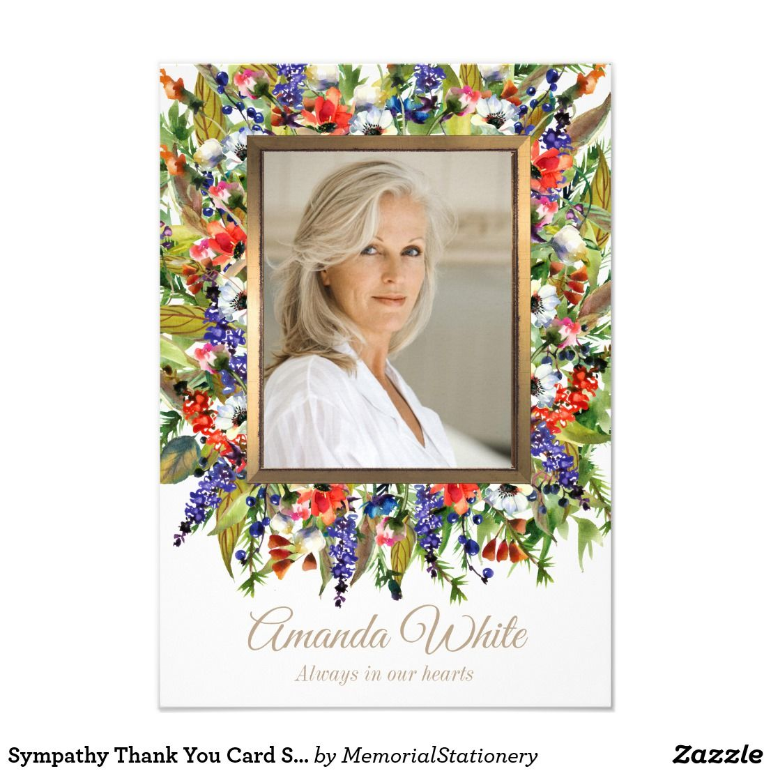 Funeral Thank You Cards Small Forest Florals Zazzle Com