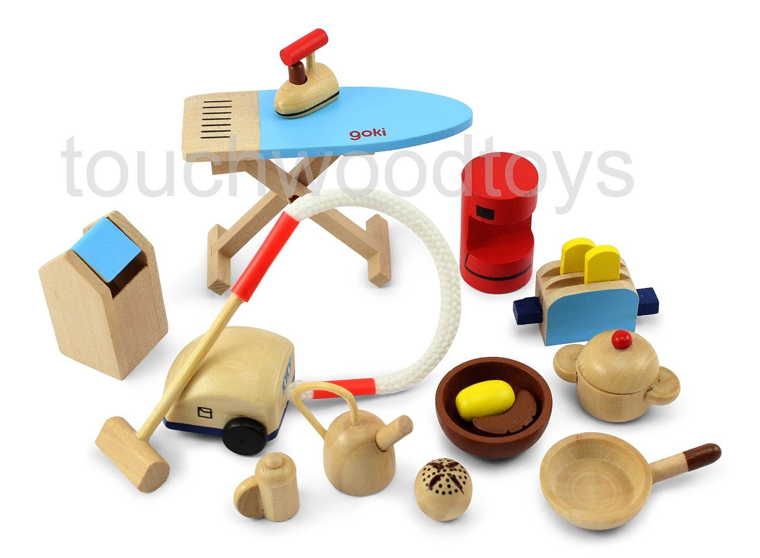 Dolls House Kitchen Accessories Wooden Furniture Set Co Uk Toys