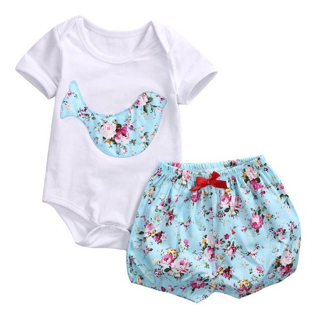 2pcs!!Girls Boys Clothes Set Deer Top Rromper Short Sleeve +