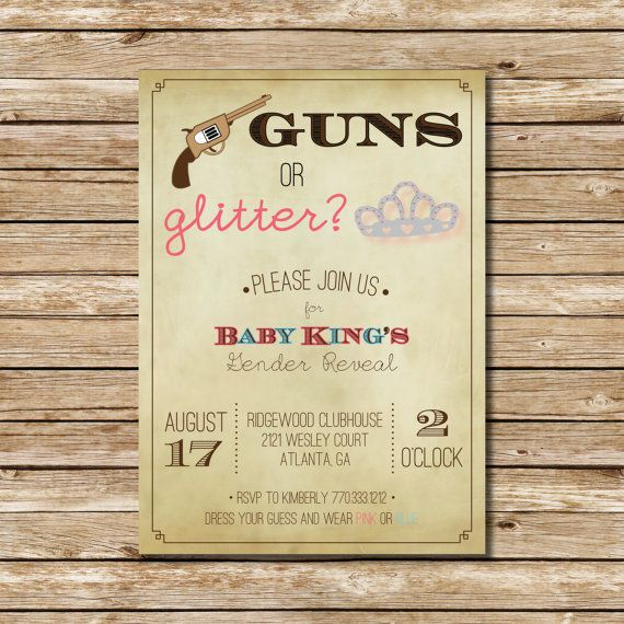 guns or glitter gender reveal | reveal parties, glitter and love this, Baby shower invitations