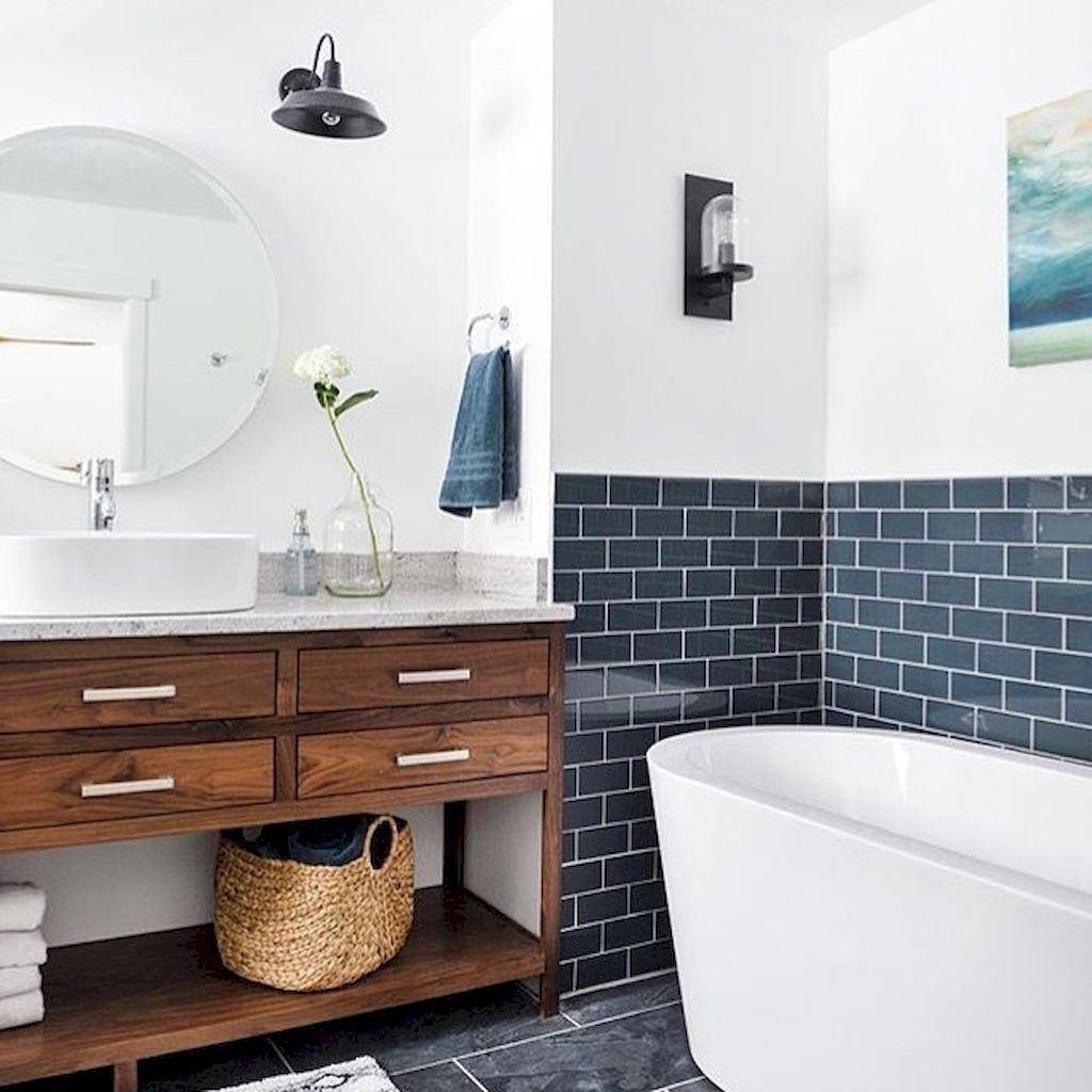 99 Simple and Cozy Farmhouse Wooden Bathroom Ideas   Wooden bathroom ...