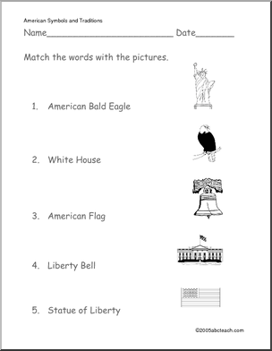 national symbols of america worksheets | of 1 worksheet matching u s symbols primary match the pictures of u ...