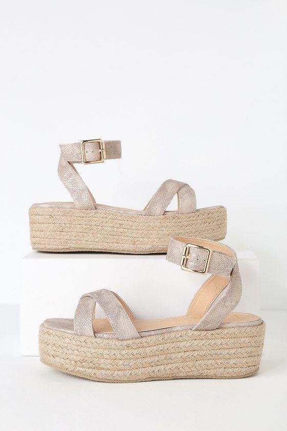 Cobi Beige Snake Espadrille Platform Sandals 3