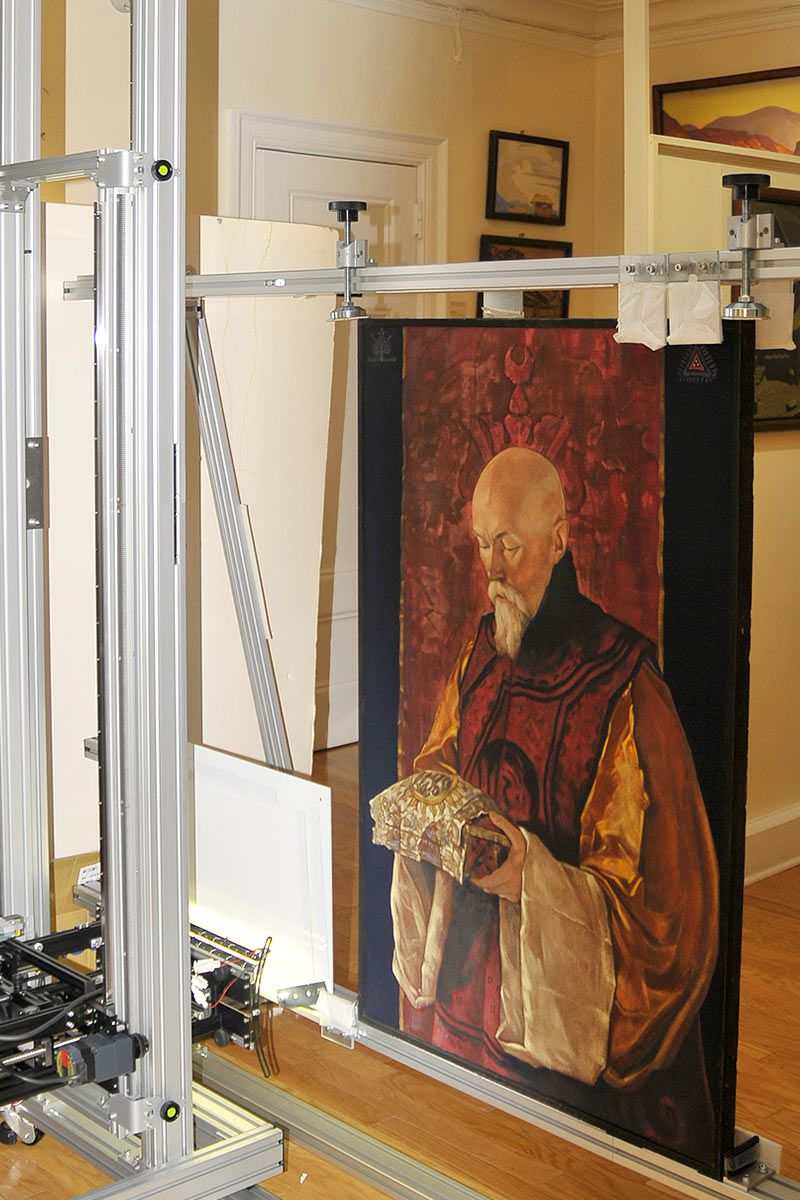Scanning the portrait of Nicholas Roerich (1928), by his son Svetoslav Roerich