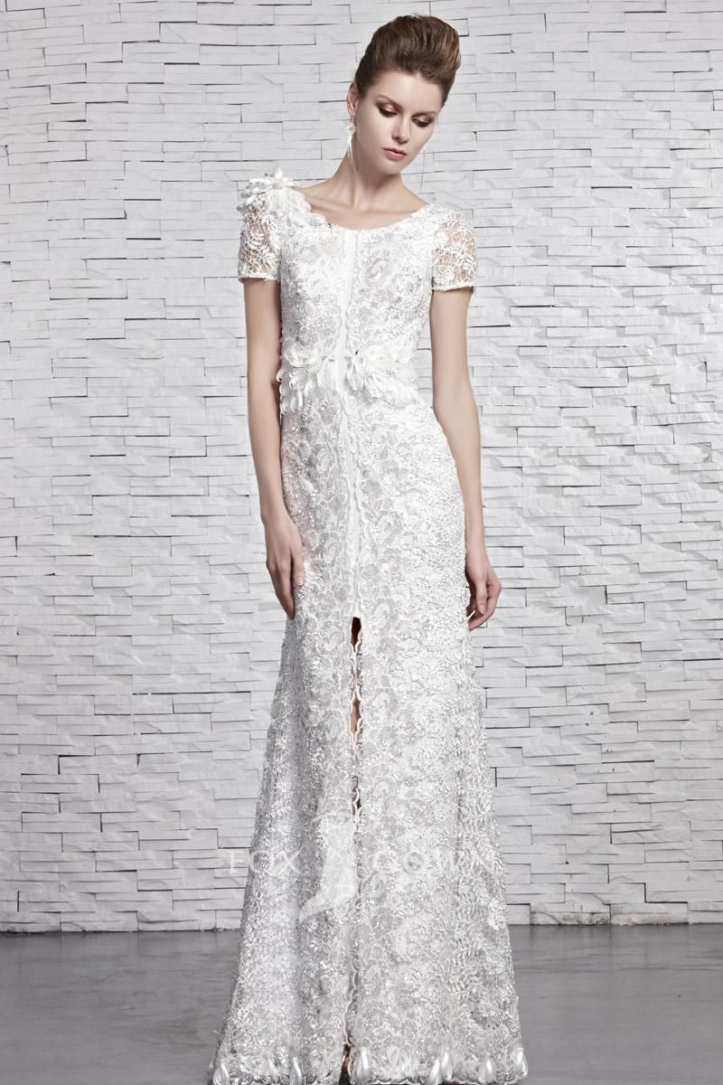 white beaded lace jewel neck short sleeve split floor length ...