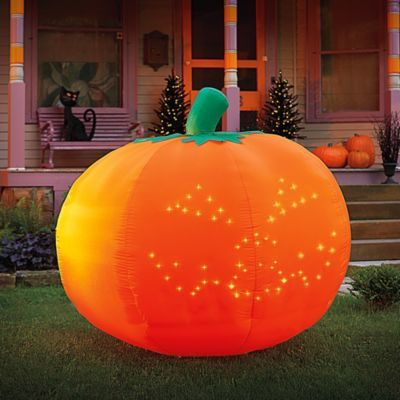 Pre-Lit Angel with Harp Pumpkins, Halloween and Halloween pumpkins - halloween inflatable decorations