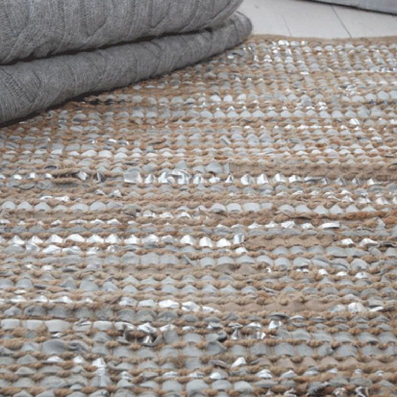 Leather Woven Rug Home Decor