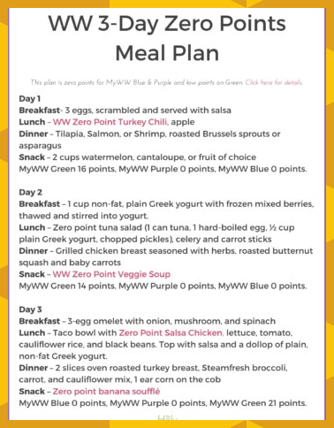 Weight Watchers 3Day Zero Point Meal Plan The Holy Mess