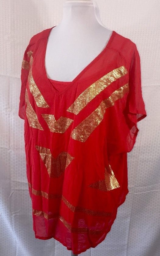 new red gold worthington woman career blouse plus size 3x