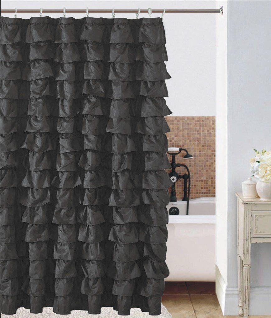 Waterfall Black Ruffled Shower Curtain Home Pinterest
