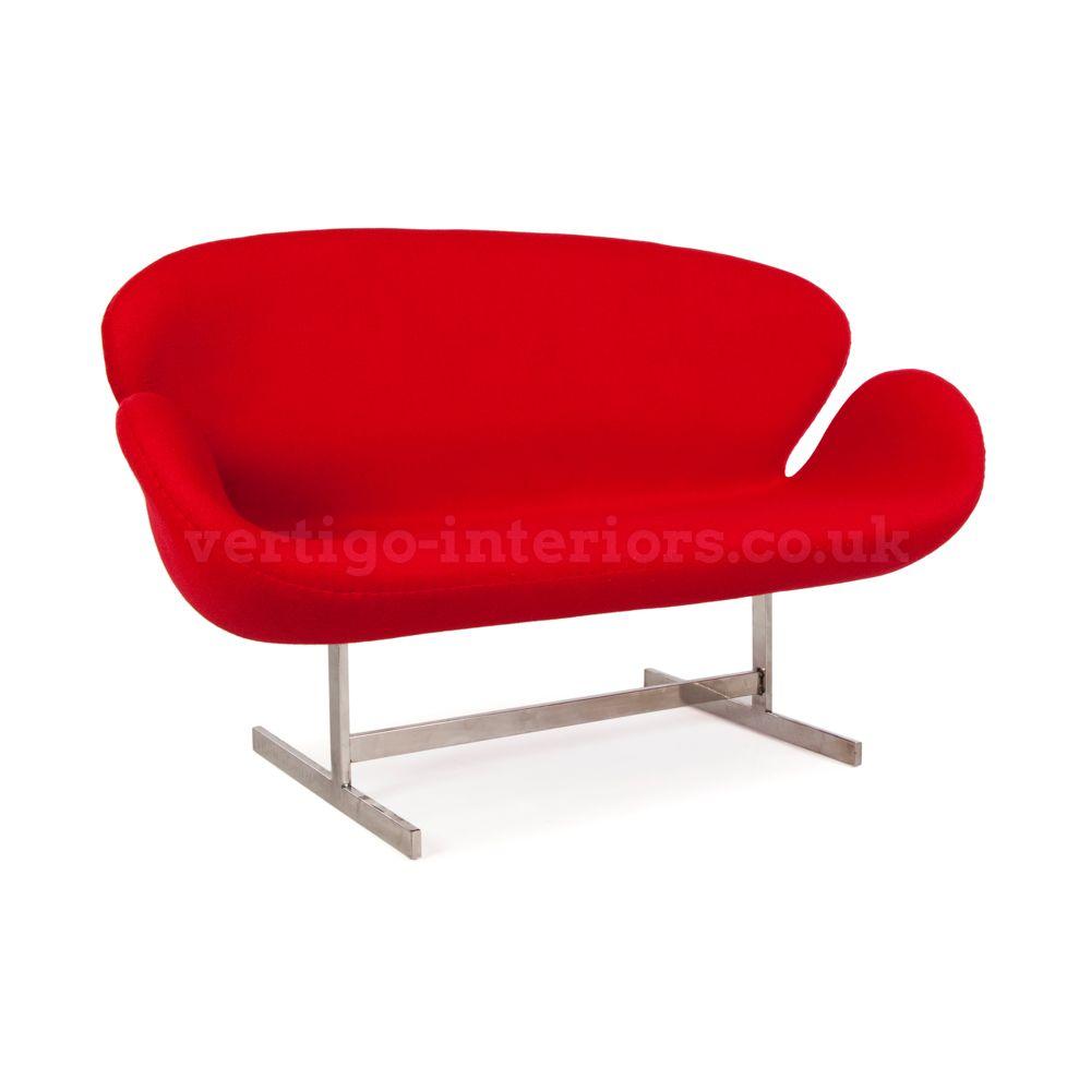 Arne Jacobsen Swan Sofa Red Cashmere Vertigo Interiors Usa