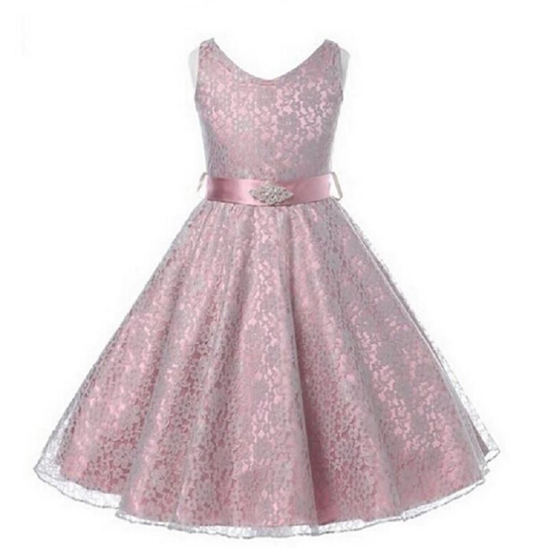 Girl's Lace Dress With Waist Crystal