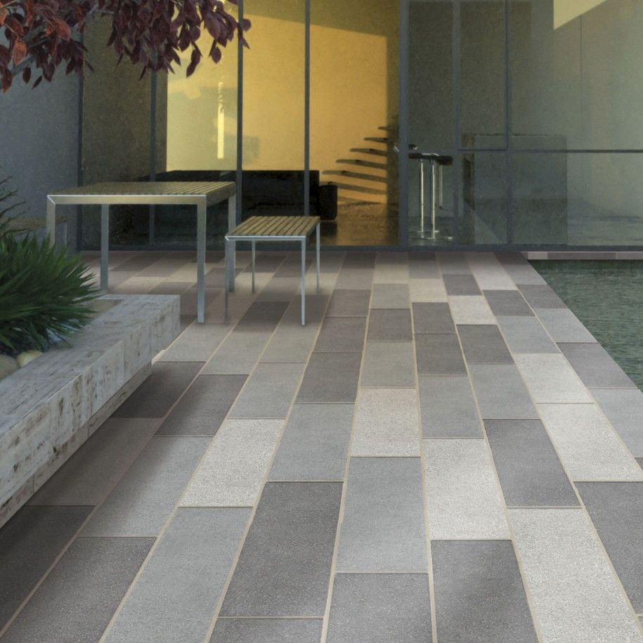 Classy White And Gray Colors Rectangle Shape Outdoor Patio Floor Tiles And Combine With Silver Color Square Shape M Patio Flooring Patio Tiles Outdoor Flooring