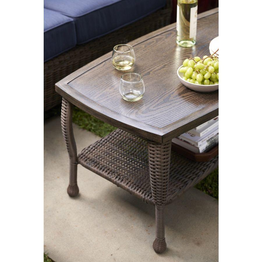 Allen Roth Mcaden Rectangle Wicker Coffee Table 22 In W X 40 In