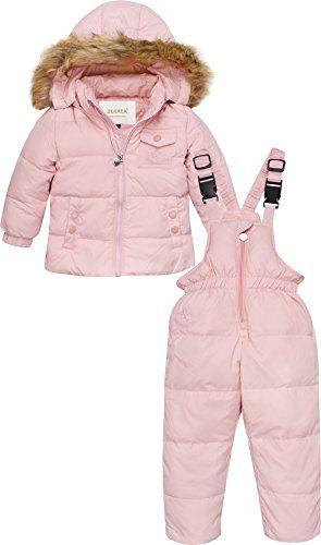 db03fc861 ZOEREA 2 Piece Unisex Kids Girls Snowsuit Hooded Puffer Jacket Snow Pants  Pink Label MAge 1224