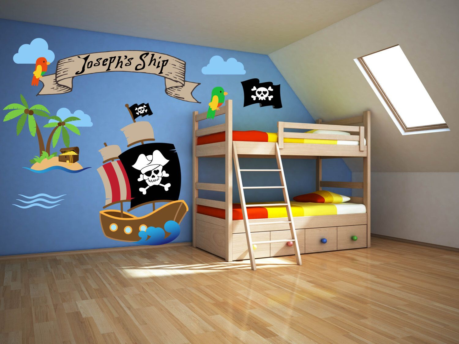 Pirate Room Decor   Pirate Wall Decals   Pirate Theme Decor   Pirate Wall  Art