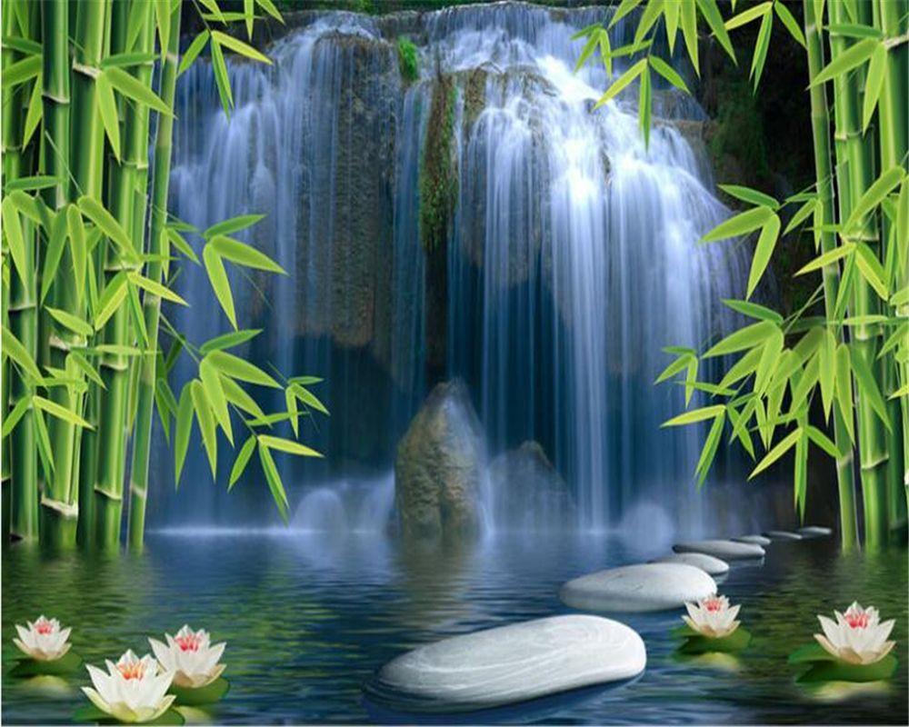 Best Beibehang 3D Wallpaper Bamboo Forest Spring 3D Tv Backdrop 400 x 300