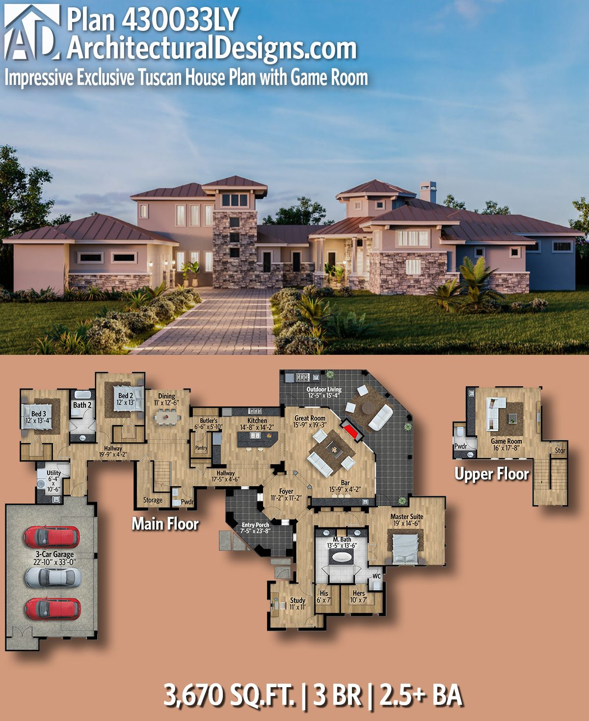 Plan 430033ly Impressive Exclusive Tuscan House Plan With Game Room Tuscan House Plans House Plans Mansion House Plans