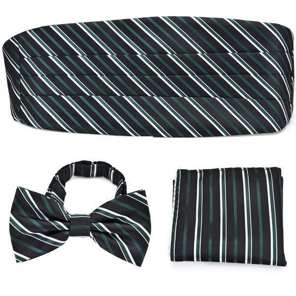 PenSee Men's Bowtie Cummerbund Formal Stripe Pre-Tied Pocket Square Neckties