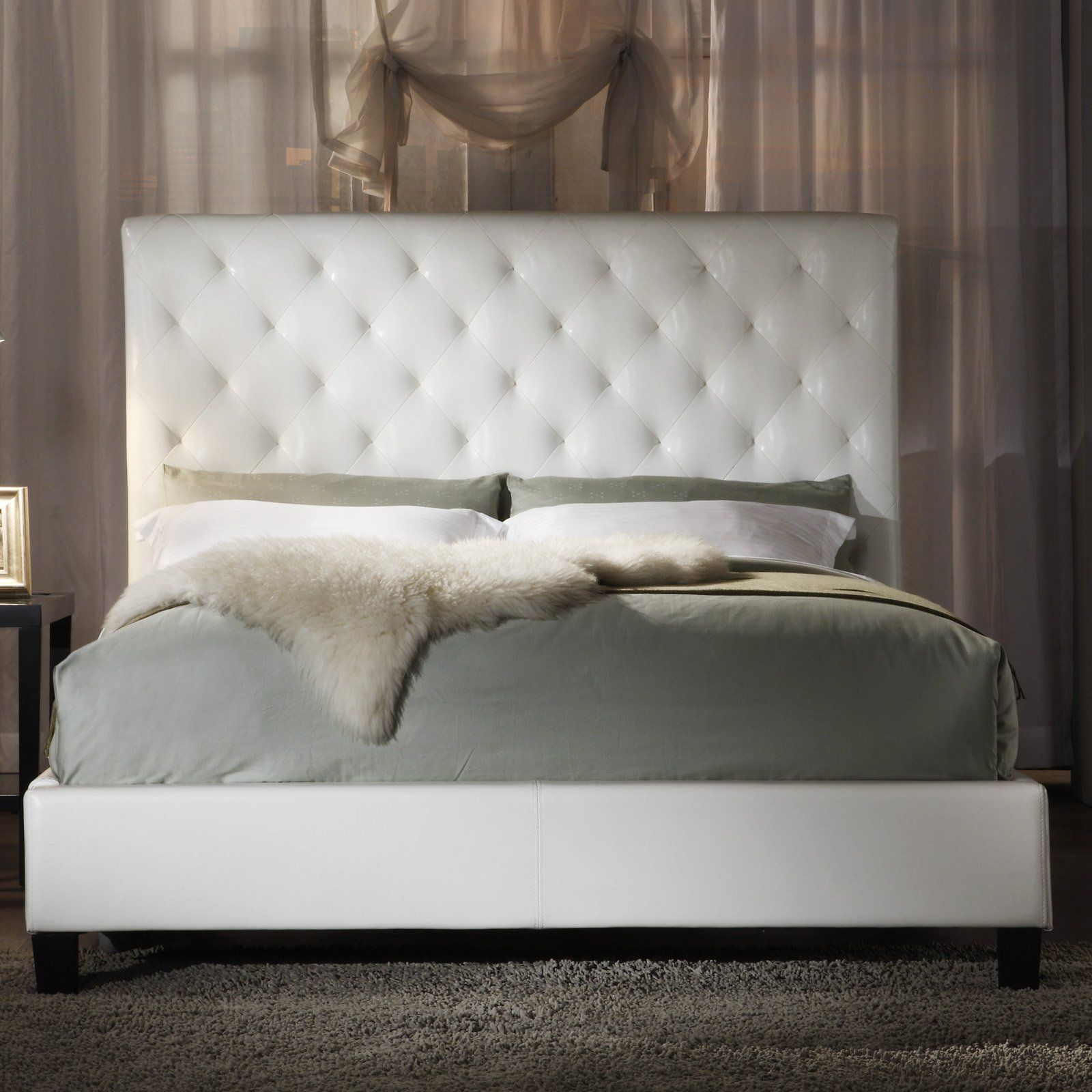 Fenton Tufted Upholstered Low Profile Bed White Vinyl 779 99 Design Wood Frame Upholstery Oversized Headboard Available