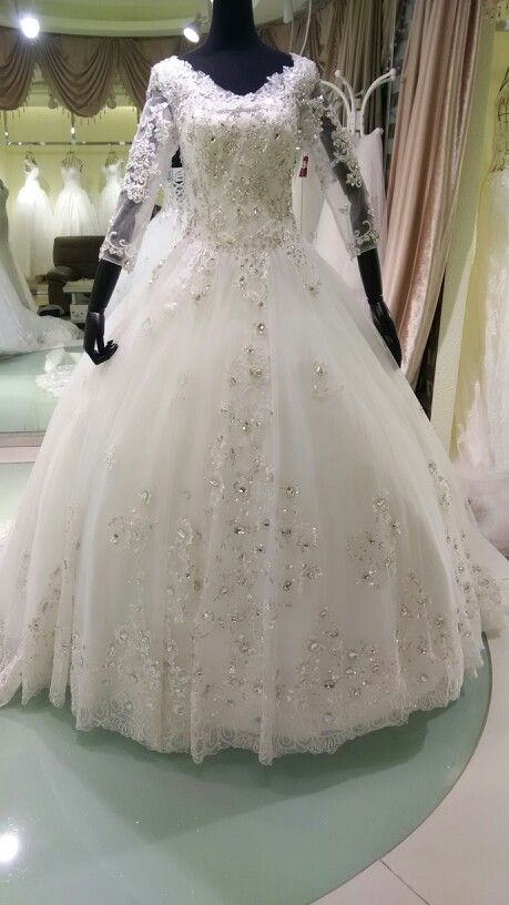 V neck sleeves lace appliques sequins swarovski beaded accent bridal gown