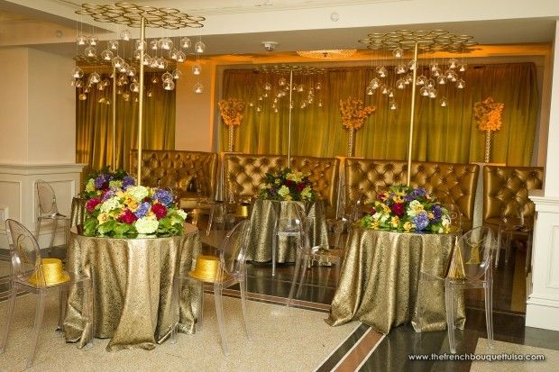 Gold Metal Structure for Wedding Centerpieces and Hanging Votives with Floral Paves - The French Bouquet - Chris Humphrey Photographer