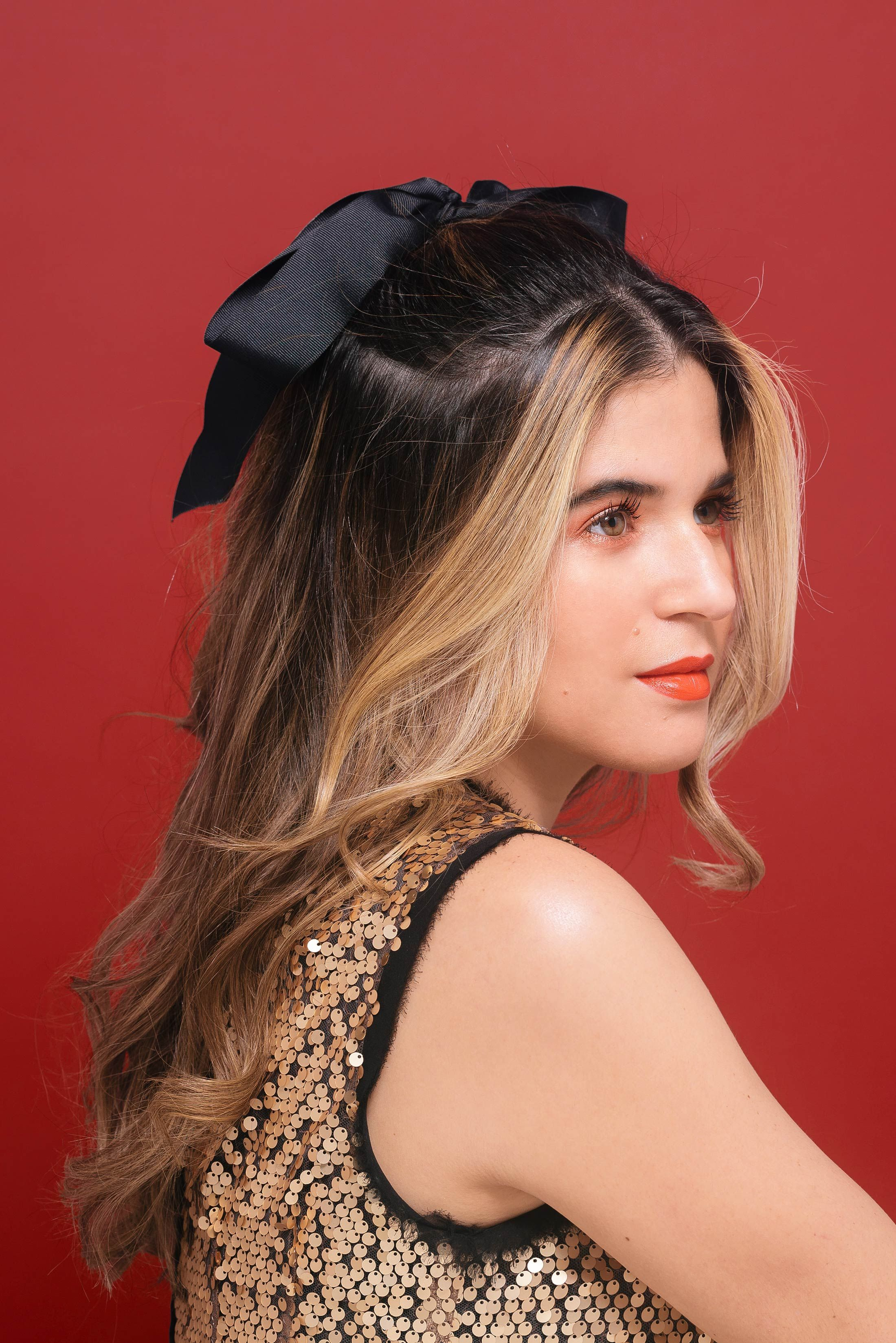 3 Holiday Beauty Looks | Half updo hairstyles, Bow ...