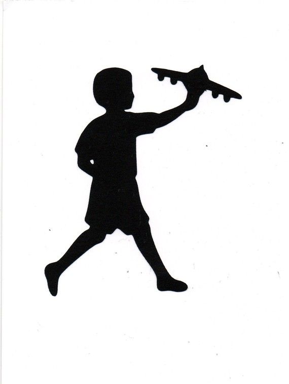 Boy Playing With Airplane Child Silhouette By