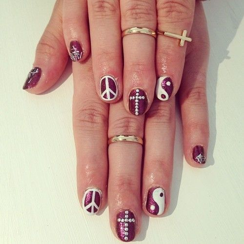 Magenta White Nail Art Peace Sign