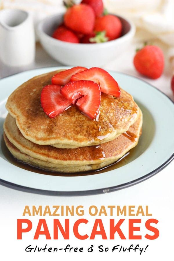 Amazing Oatmeal Pancakes (Gluten-Free & Fluffy!) These Oatmeal Pancakes are amazingly fluffy, and take just minutes to prepare. They're gluten-free and taste better than a box mix! This healthy pancake recipe calls for just 7 ingredients that you probably already have in your pantry.