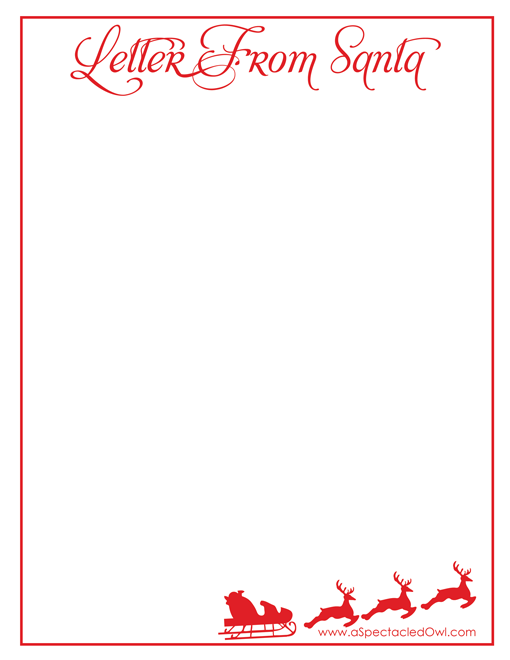 Letter From Santa Christmas Printable A Spectacled Owl Christmas Lettering Christmas Stationery Christmas Card Crafts