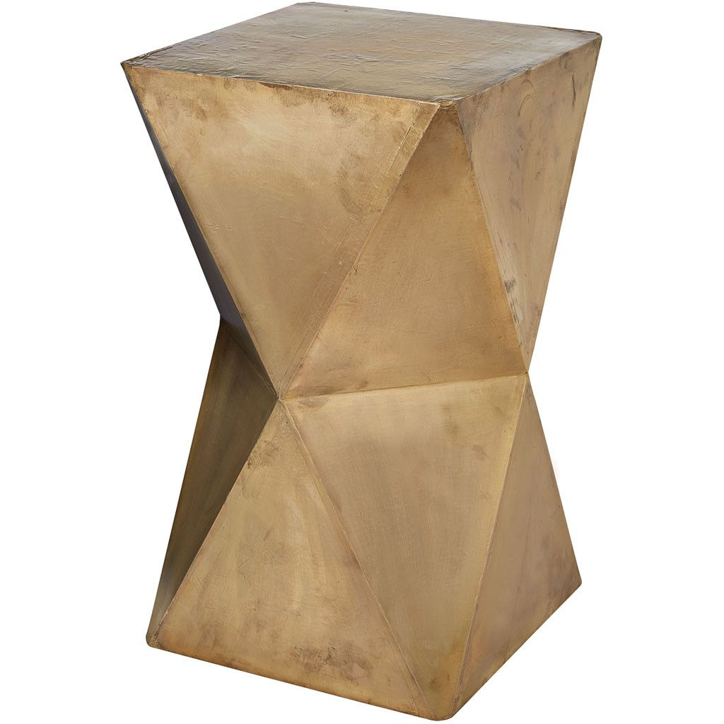 Carnegie Brass Geometric Stool | Stools, Living room tables and Woods