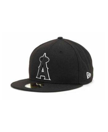 newest e4e6b 43a2b New Era Los Angeles Angels of Anaheim Mlb Black and White Fashion 59FIFTY  Cap - Black 6 7 8